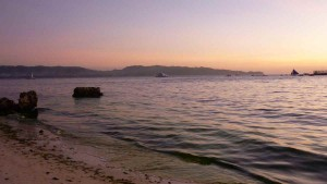 sunset at Asya Hotel watched from White Beach; we can see Panay Island afar off
