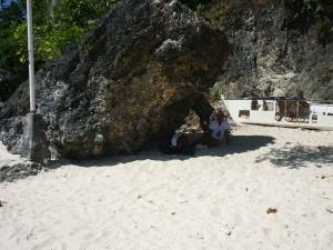 Diniwid Beach - hiding in the rock's shadow against the sun